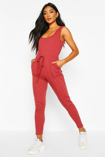 Womens Berry Soft Ribbed Slouch Cami Jumpsuit