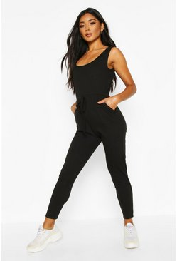 Womens Black Soft Ribbed Slouch Cami Jumpsuit