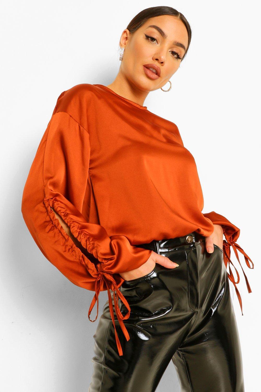 womens volume tie detail sleeve satin top - orange - 2