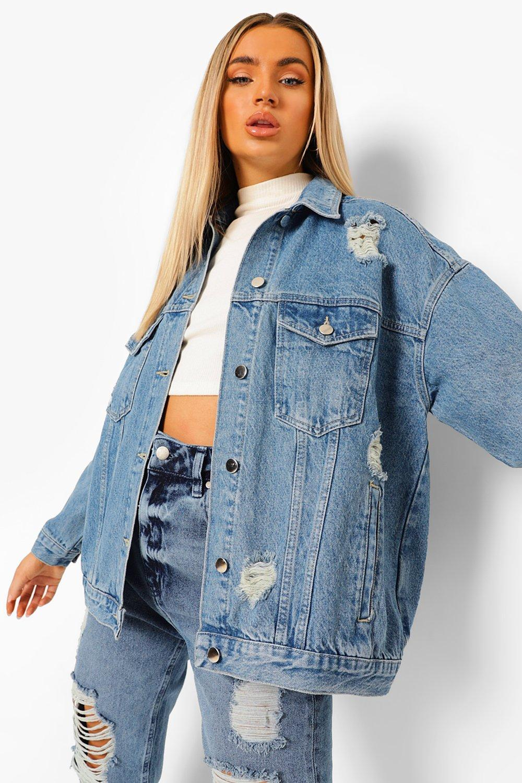 womens distressed oversized jean jacket - blue - 2