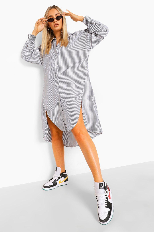 womens super oversized striped button detail shirt dress - black - 4