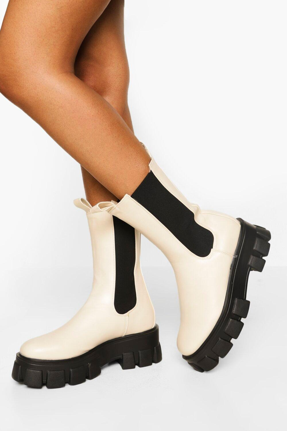 Womens Wide Fit Chunky Cleated Sole Chelsea Boots - Cream - 3