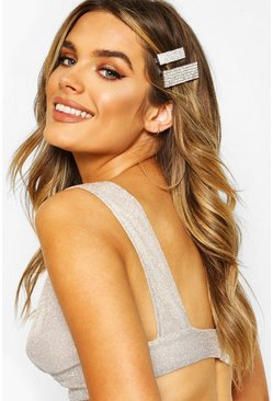 Womens Silver Diamante Bar Hair Clip 2 Pack