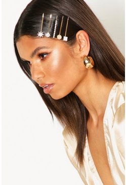 Womens Gold Diamante Star Mixed Hairslide Pack