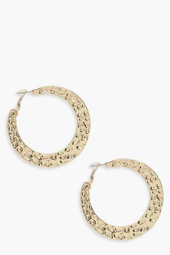 Womens Gold Hammered Hoop Earrings