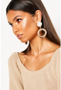 Womens Gold Pearl And Circle Statement Earrings