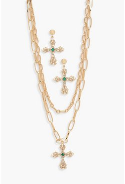 Womens Gold Diamante Cross Necklace And Earring Set
