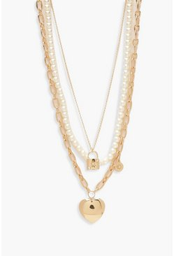 Womens Gold Pearl Padlock & Heart Layered Necklace