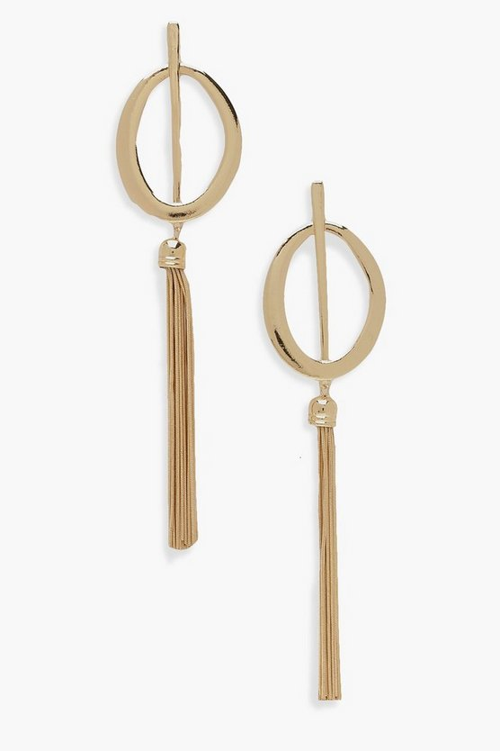 Statement Bar Oval & Tassel Earrings