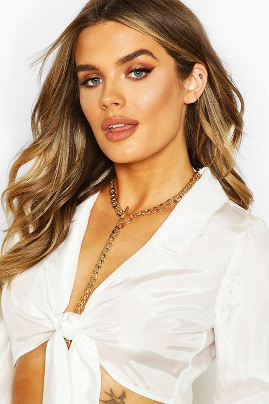 T-Bar Chunky Chain Plunge Necklace