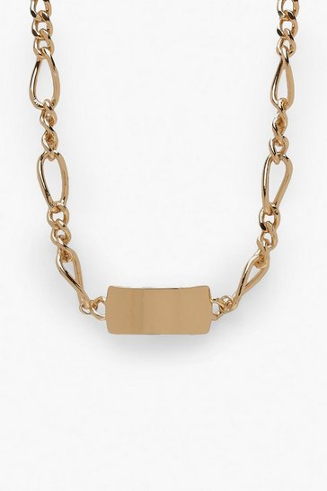 Womens Gold Tag and Chain Choker Necklace