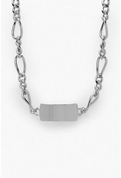 Womens Silver Tag and Chain Choker Necklace