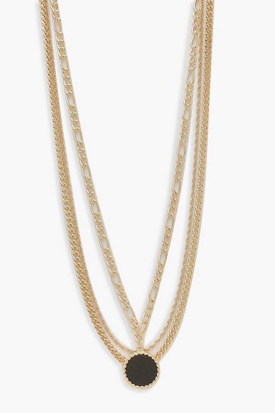Matte Black Pendant Layered Necklace