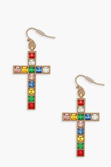 Womens Gold Multi Stone Cross Hoop Earrings