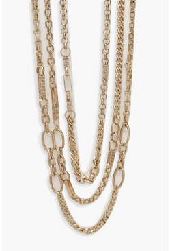 Womens Burnished Gold Chunky Chain Layered Necklace