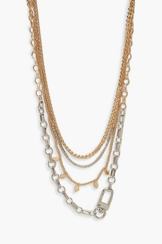 Multi Diamante and Utility Chain Layered Necklace