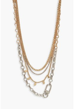 Womens Multi Diamante and Utility Chain Layered Necklace