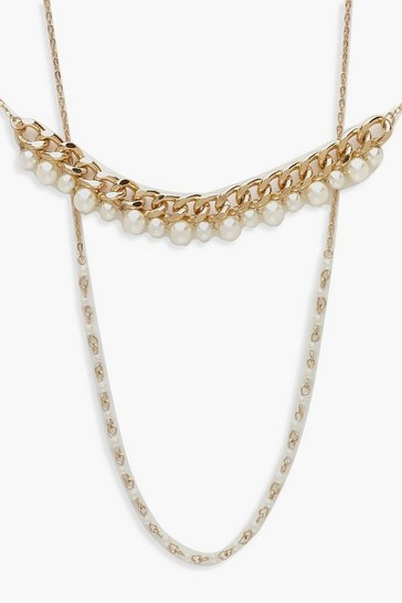 Womens Gold Chain and Pearl Choker Pack