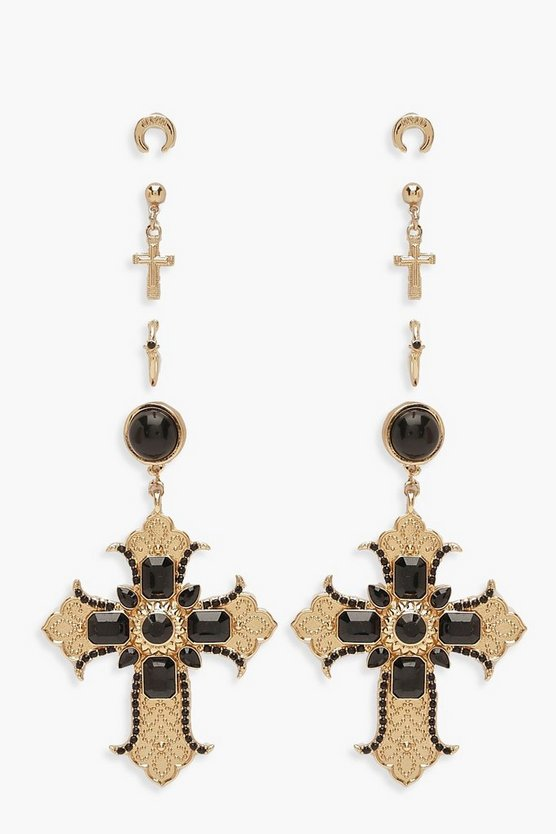 Ornate Cross And Horn Earring Pack by Boohoo