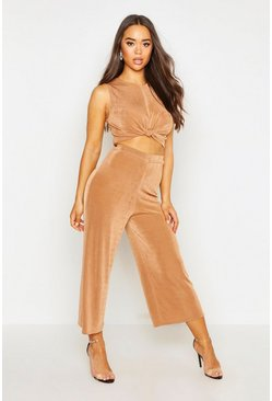 Womens Camel Knot Front Top & Relaxed Culotte Co-ord