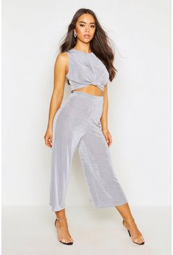 Womens Grey Knot Front Top & Relaxed Culotte Co-ord