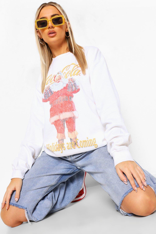 womens coca cola christmas sweathshirt - white - s
