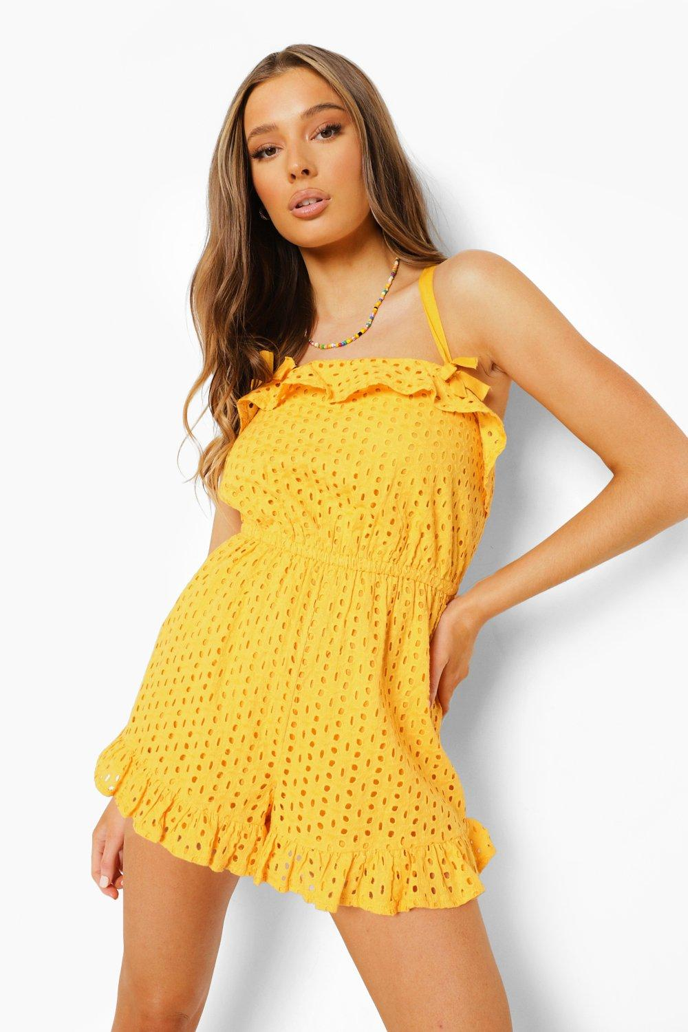60s Mod Clothing Outfit Ideas Womens Bow Detail Cross Back Broderie Romper - Yellow - 12 $16.00 AT vintagedancer.com