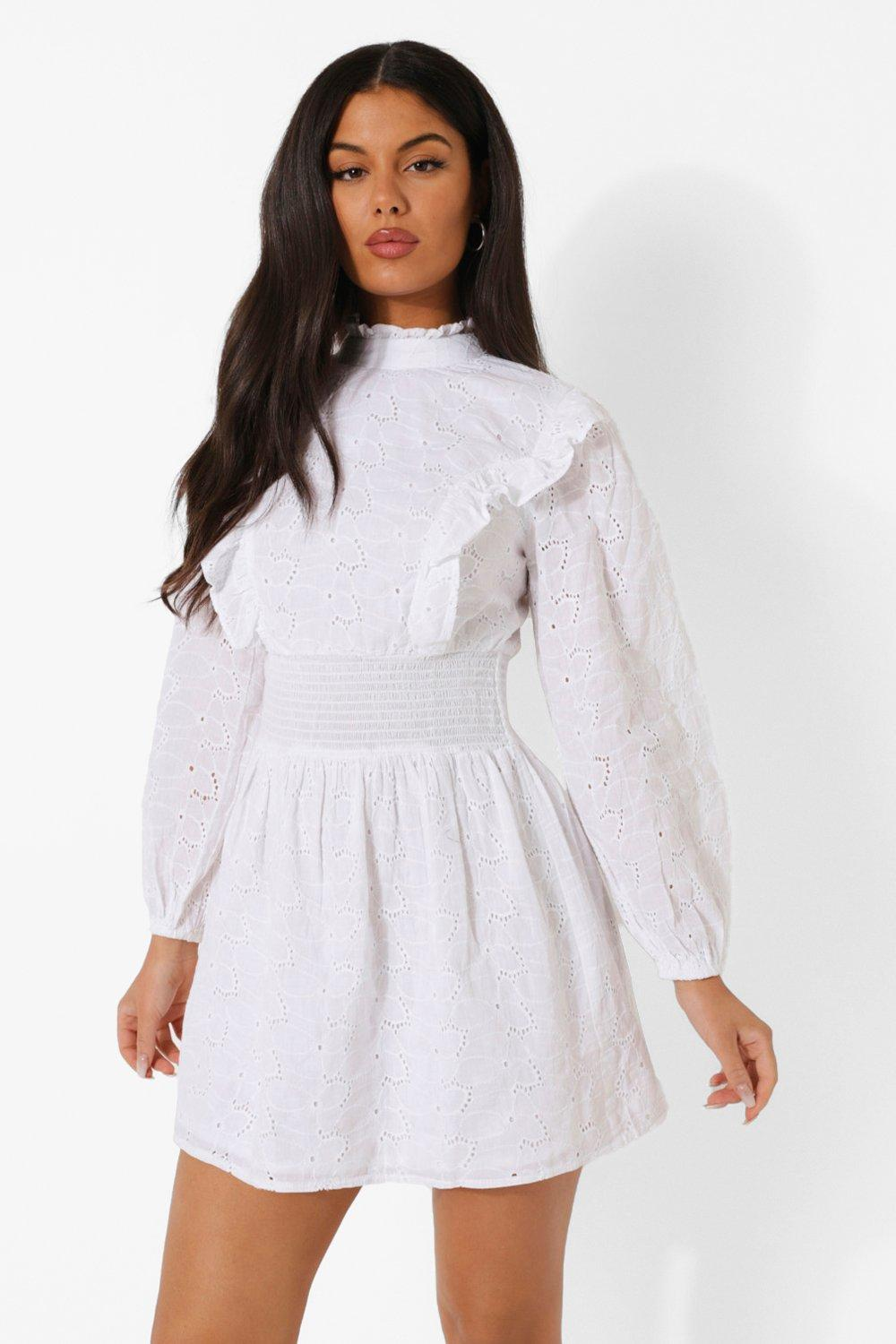 70s Clothes | Hippie Clothes & Outfits Womens Puff Sleeve High Neck Broderie Skater Dress - White - 14 $20.00 AT vintagedancer.com