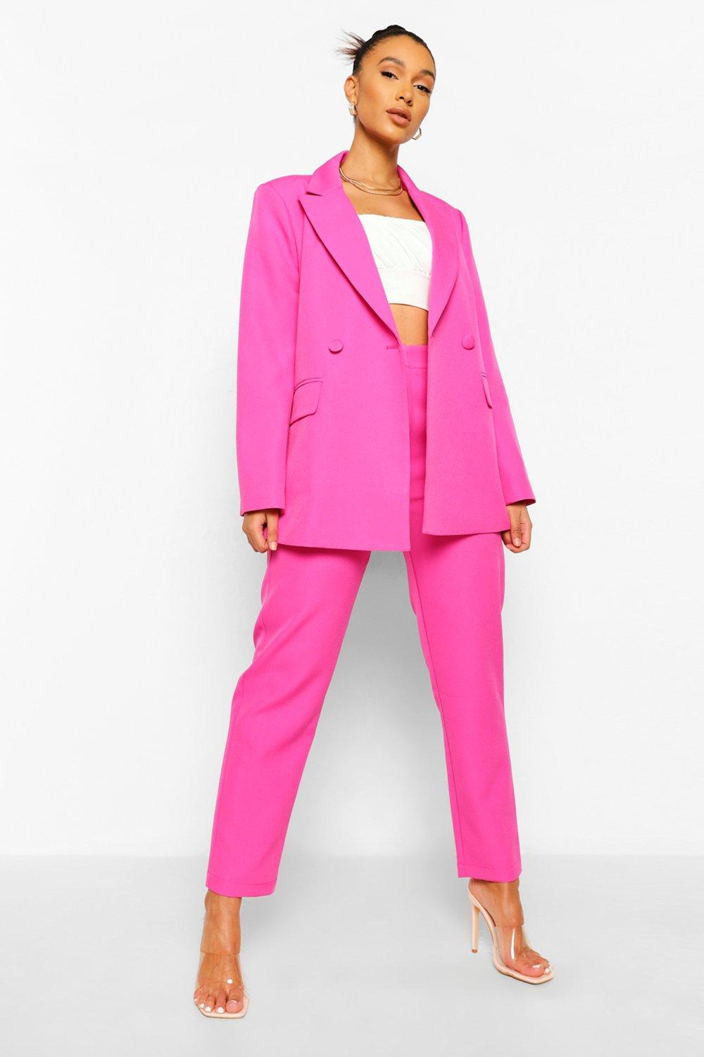 80s Dresses | Casual to Party Dresses Womens Mix  Match Brights Oversized Blazer - Pink - 12 $25.60 AT vintagedancer.com