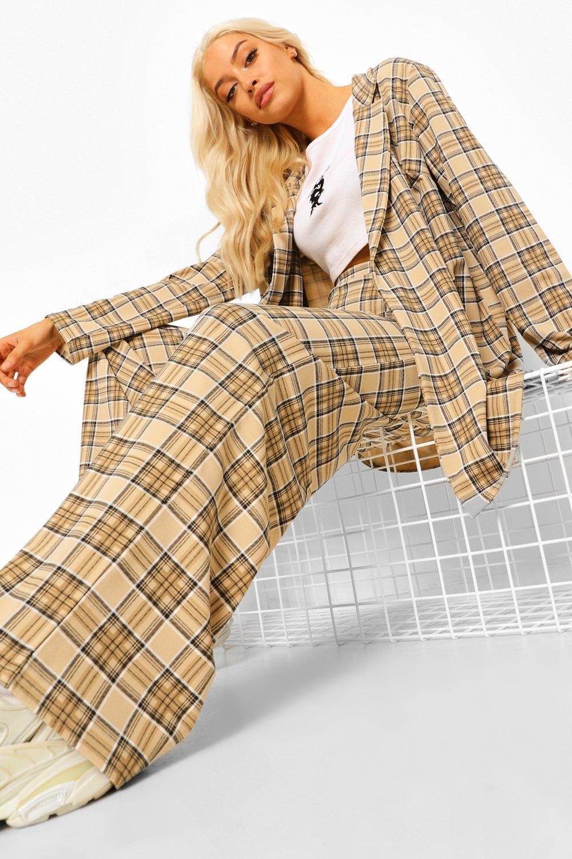70s Clothes | Hippie Clothes & Outfits Womens Tonal Flannel Wide Leg Pants - Beige - 12 $12.50 AT vintagedancer.com