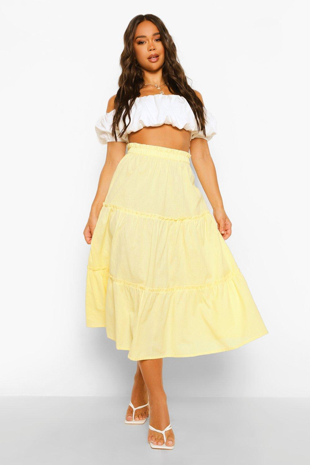 Vintage Skirts | Retro, Pencil, Swing, Boho Womens Cotton Tiered Full Midi Skirt - Yellow - 12 $14.40 AT vintagedancer.com