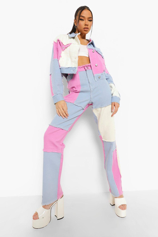 80s Jeans, Pants, Leggings | 90s Jeans Womens Colour Block Patchwork Straight Leg Jeans - Purple - 8 $16.00 AT vintagedancer.com