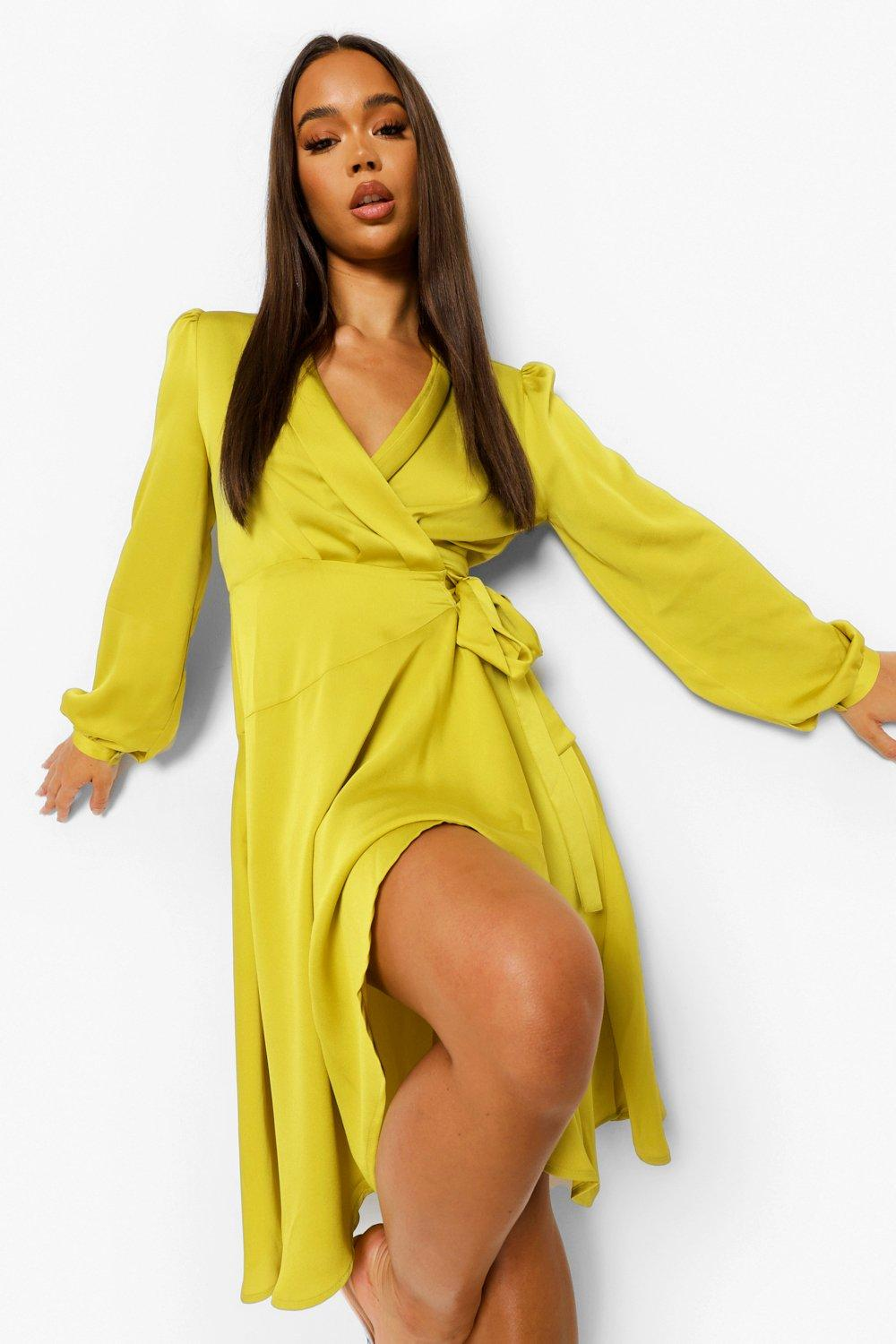 70s Disco Fashion: Disco Clothes, Outfits for Girls Womens Wrap Over Ruffle Hem Belted Midi Dress - Yellow - 4 $64.00 AT vintagedancer.com