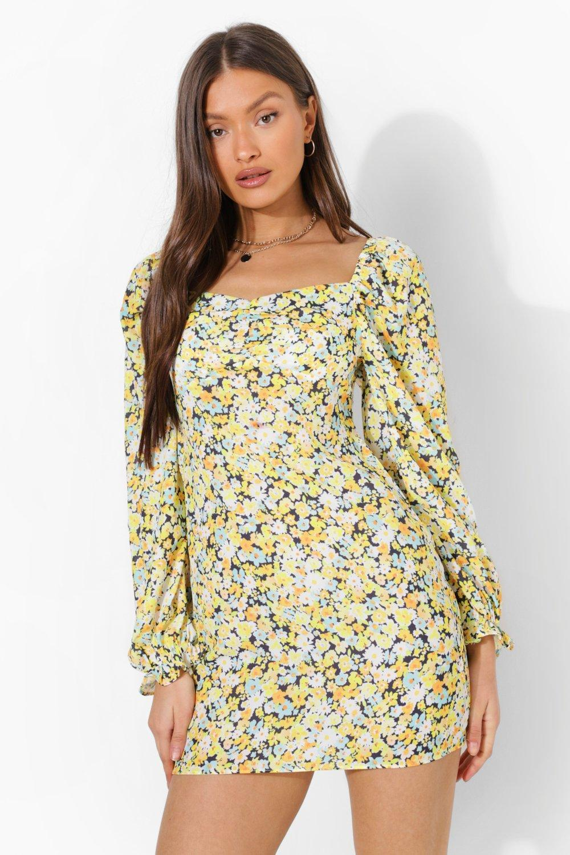 Vintage Style Dresses | Vintage Inspired Dresses Womens Floral Puff Sleeve Mini Dress - Yellow - 12 $18.00 AT vintagedancer.com