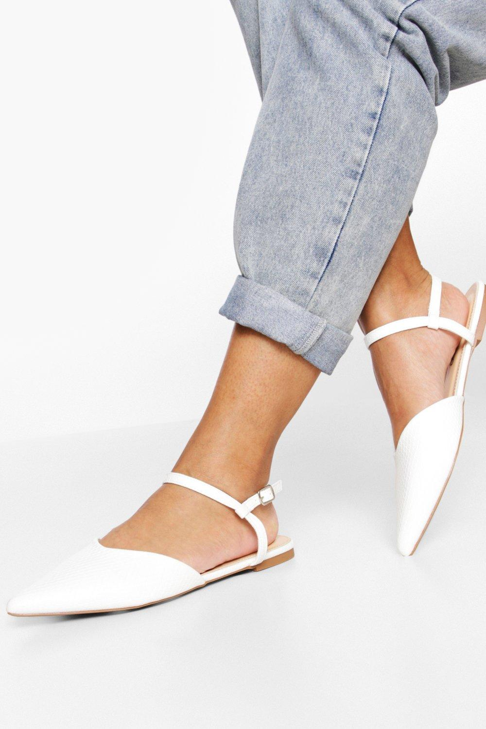Retro Vintage Flats and Low Heel Shoes Womens 2 Part Pointed Ballerina - White - 8 $12.00 AT vintagedancer.com