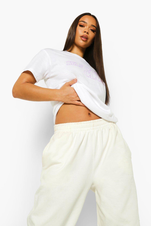 womens self care club t shirt - white - s