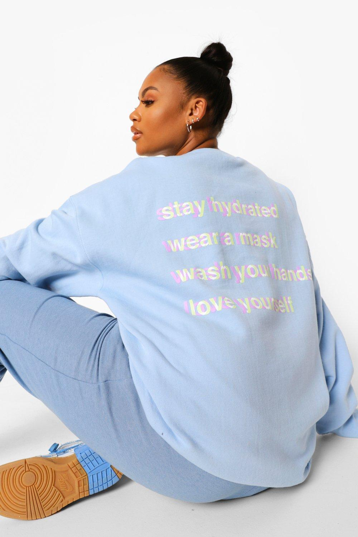 womens plus back print self care sweatshirt - blue - 16