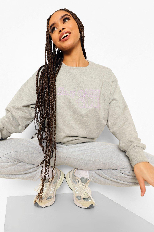 womens self care club sweatshirt - grey - s