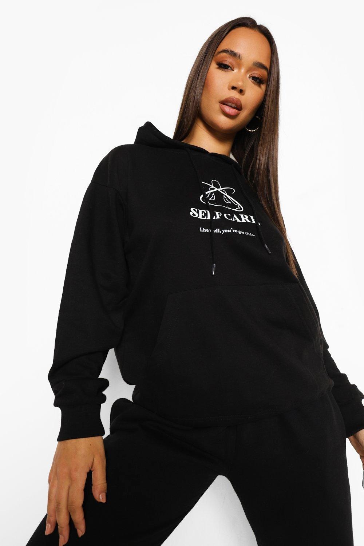 womens self care hoodie - black - l