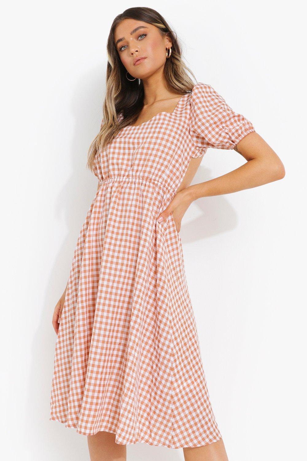 Cottagecore Clothing, Soft Aesthetic Womens Puff Sleeve Tie Back Midi Smock Dress - Brown - 14 $20.00 AT vintagedancer.com