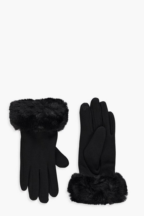 Womens Black Faux Fur Trim Glove