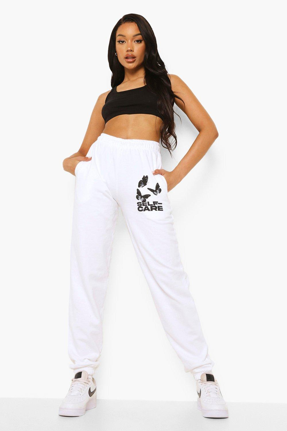 womens self care butterfly print jogger - white - s