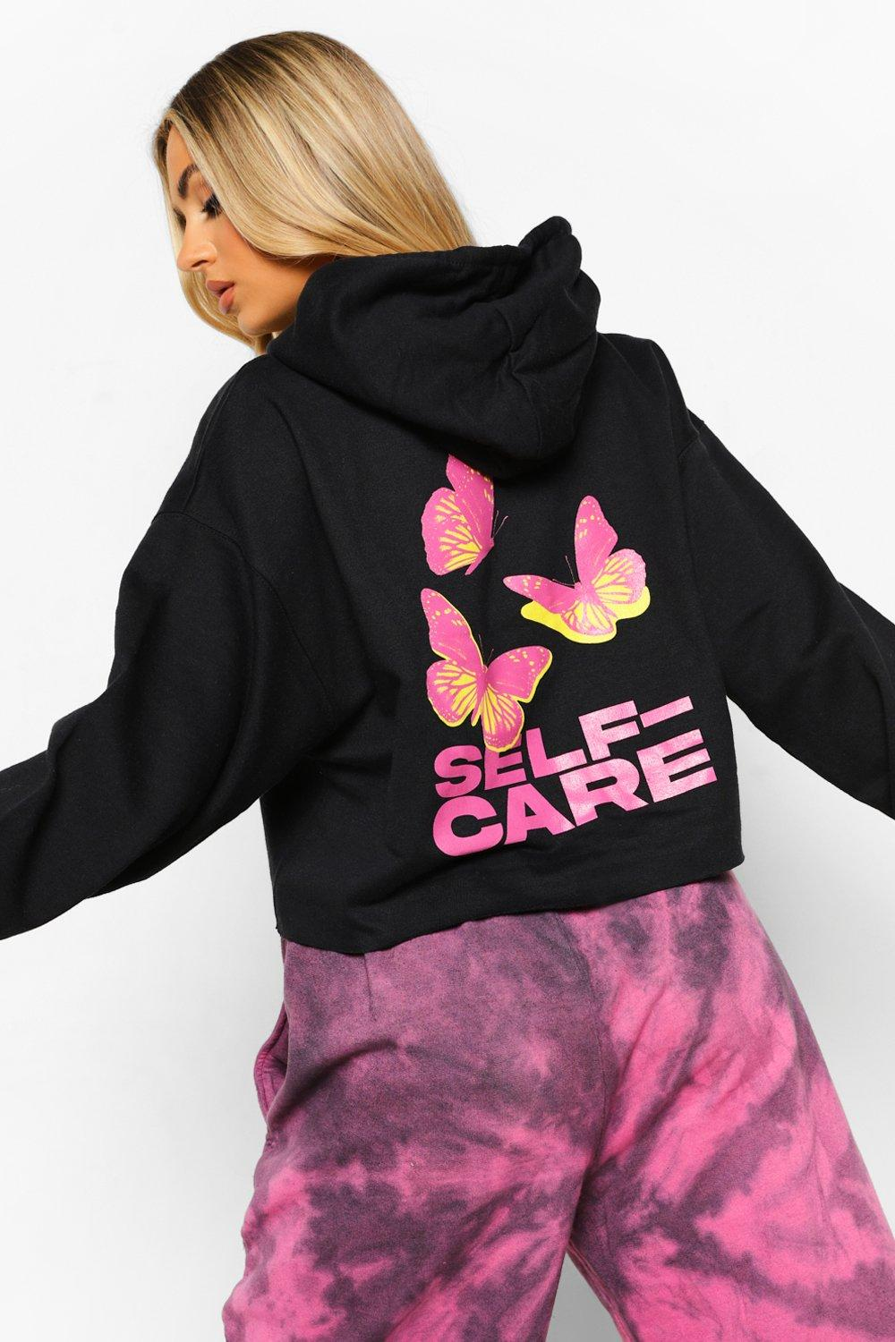 womens butterfly self care cropped hoodie - black - s