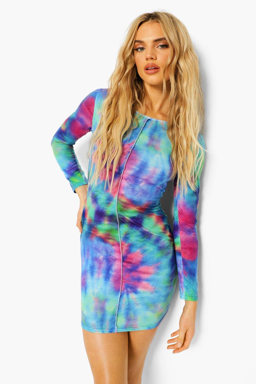 80s Dresses   Casual to Party Dresses Womens Tie Dye Long Sleeve Mini Dress - Blue - 6 $12.00 AT vintagedancer.com