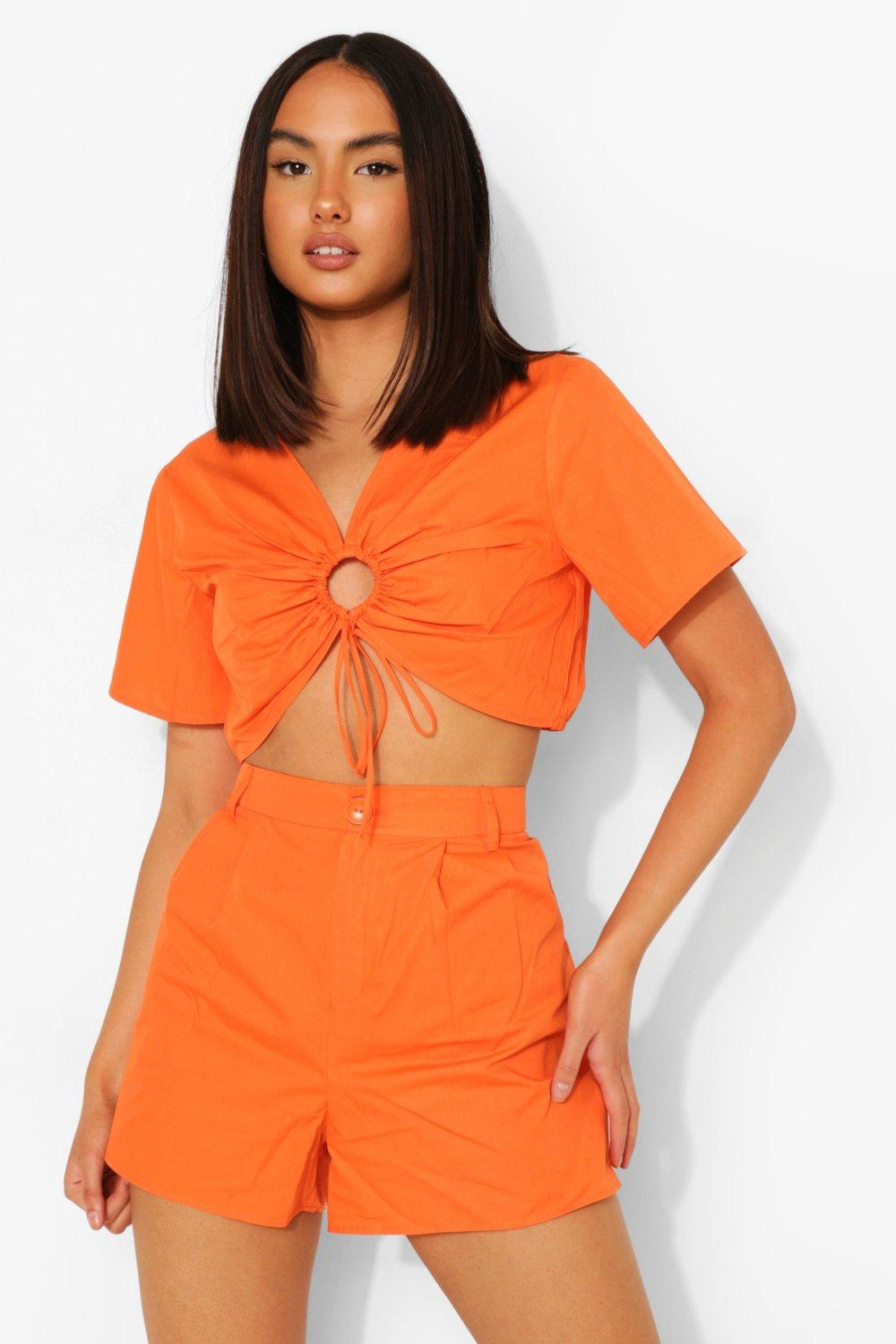 70s Shorts | Denim, High Rise, Athletic Womens Cotton Poplin Rouched Top And Short Co-Ord - Orange - 10 $36.00 AT vintagedancer.com