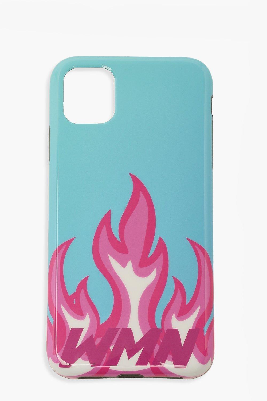 Image of Custodia per iPhone Xr con stampa di fiamme e scritta Wmn, Azzurro