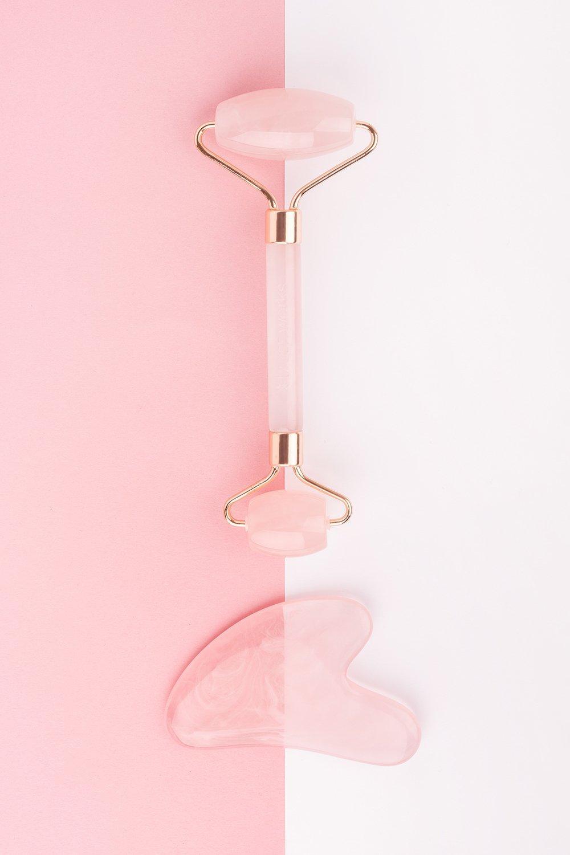 Image of Brushworks Rose Quartz Resin Roller & Gua Sha, Pink