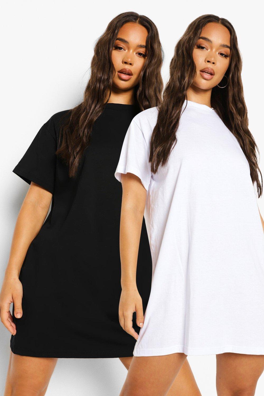 womens 2 pack oversized t-shirt dress - black & white - 8