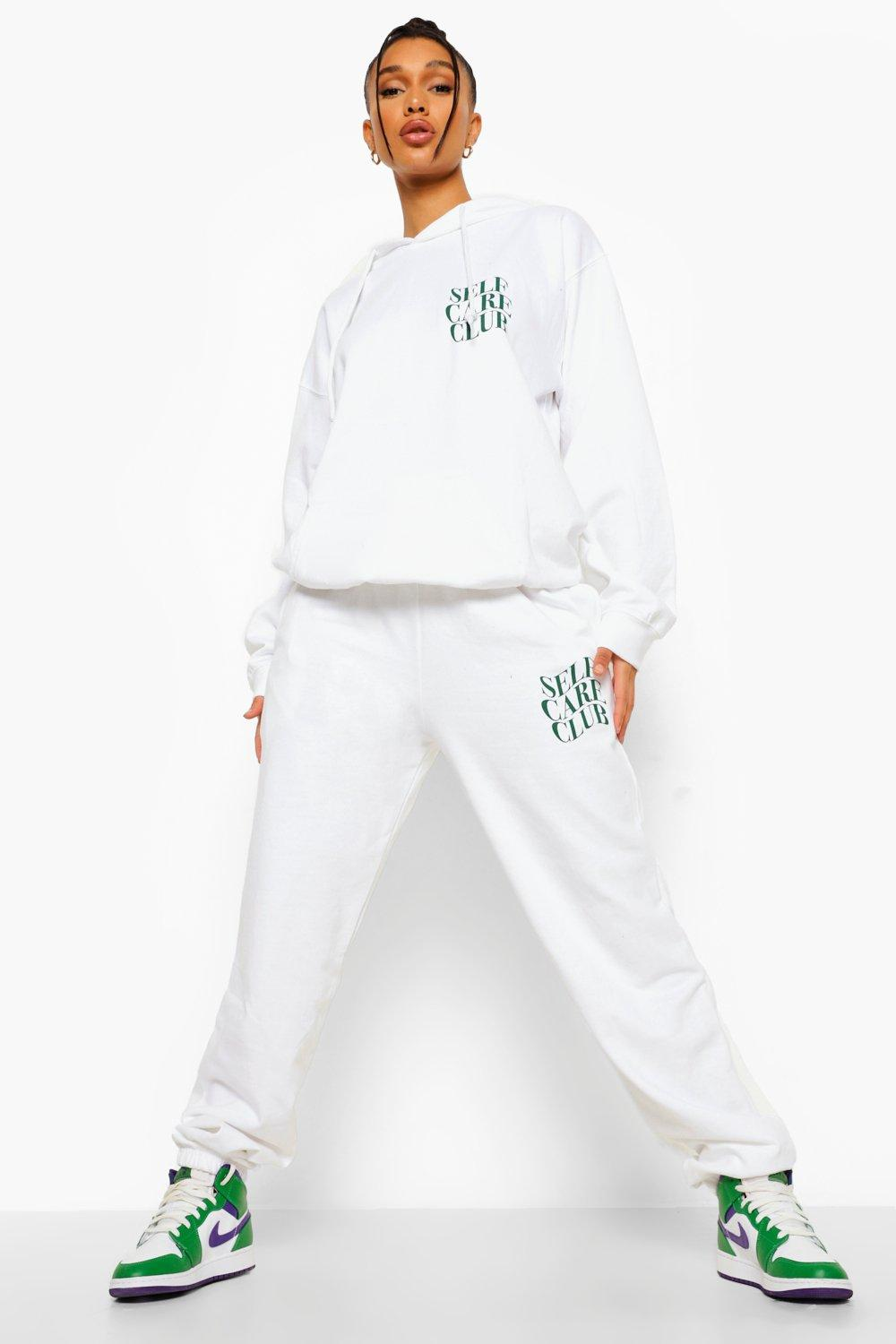 womens self care club tracksuit - white - s