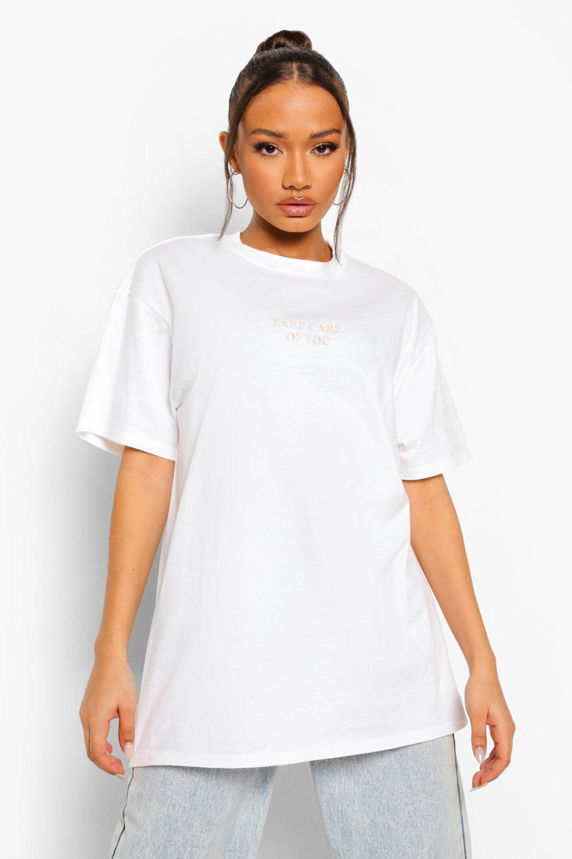 womens take care oversized t shirt - white - s